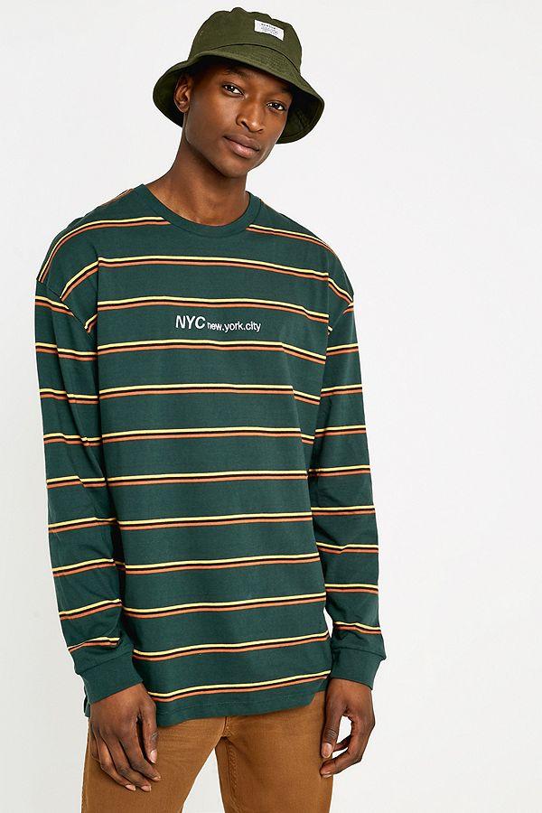 UO NYC Green Thin Stripe Long-Sleeve T-Shirt  b6a96d0df5c