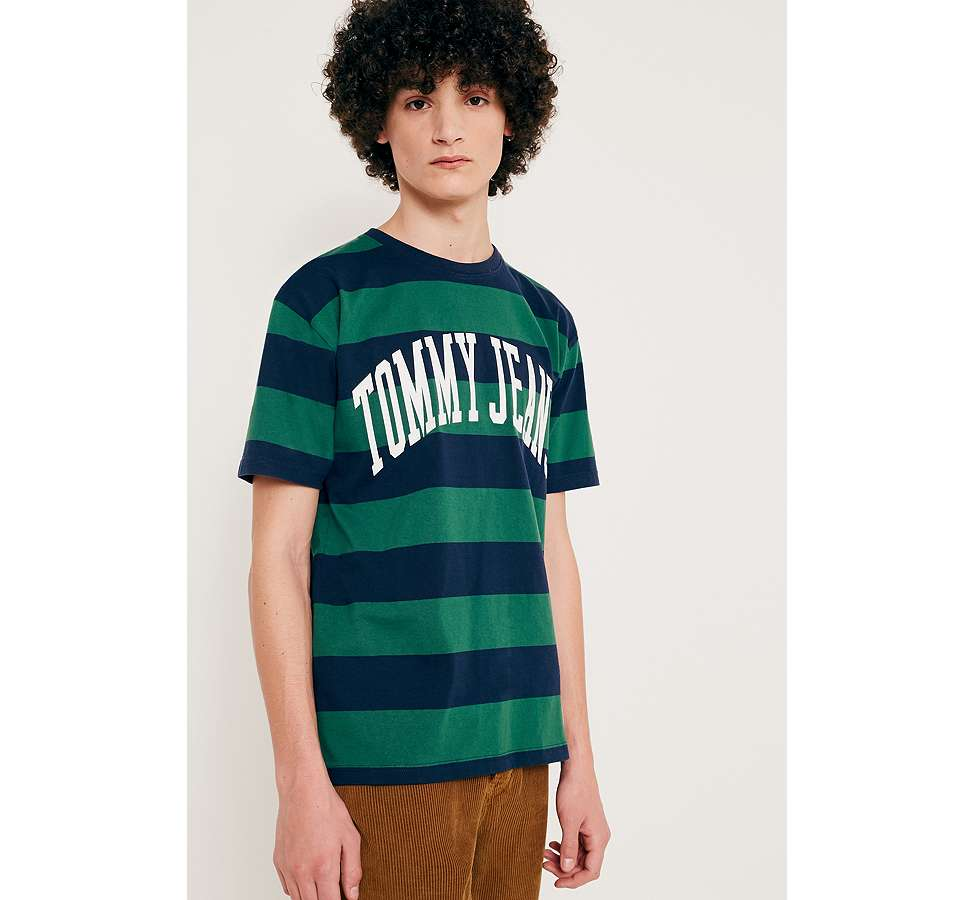 Slide View: 1: Tommy Jeans Eden Green Striped Logo T-Shirt