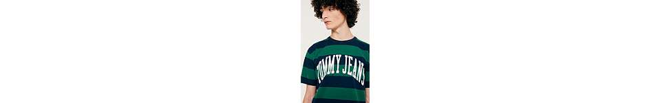 Thumbnail View 2: Tommy Jeans Eden Green Striped Logo T-Shirt
