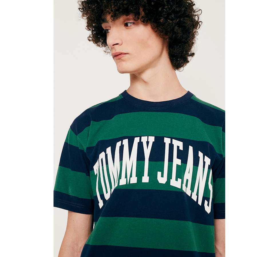 Slide View: 2: Tommy Jeans Eden Green Striped Logo T-Shirt