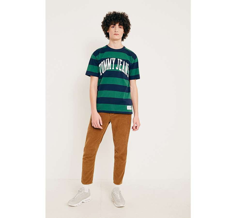 Slide View: 3: Tommy Jeans Eden Green Striped Logo T-Shirt