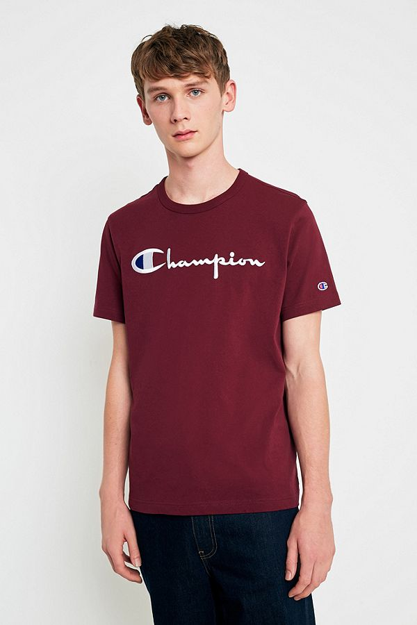 Champion Script Burgundy Shirt Urban Outfitters