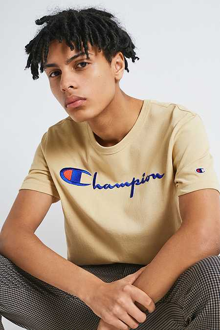 Champion X UO Taupe Script Reverse Weave T-shirt