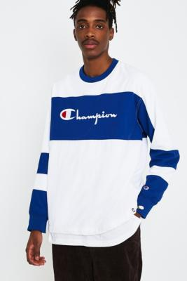 Champion Corp Logo Crinkle White Pullover Sweatshirt by Champion