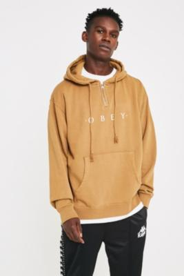 Obey Novel Gold Quarter Zip Hoodie by Obey