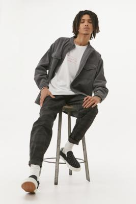BDG Corduroy Grandad Collar Shirt - Grey L at Urban Outfitters