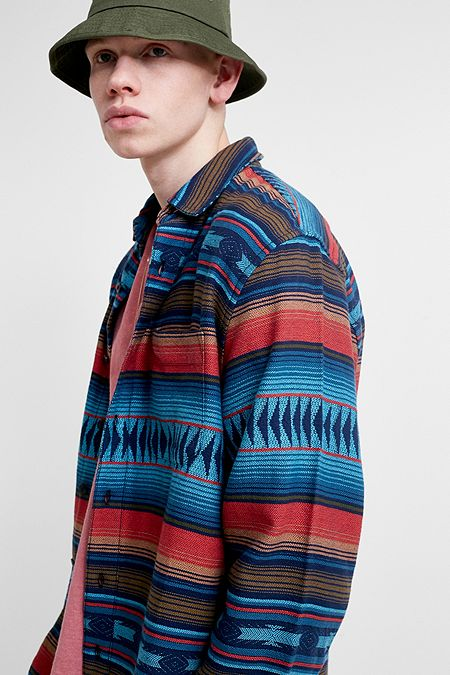 UO Blue Multi-Stripe Long-Sleeve Shirt 7ca352803868b