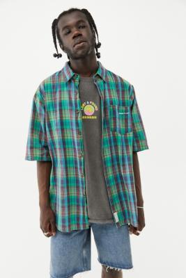 UO - Chemise manches courtes à carreaux vert et bleu - Urban Outfitters - Modalova
