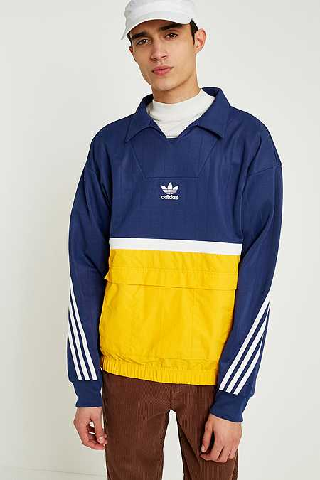 adidas Drill Indigo and Yellow Pullover Top