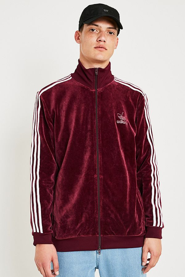 Adidas - Veste de survêtement Beckenbauer en velours bordeaux ... c2347b97249