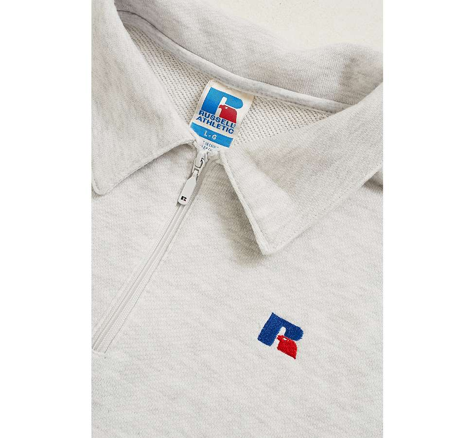 Slide View: 5: Russell Athletic Logo White Quarter Zip Polo Shirt