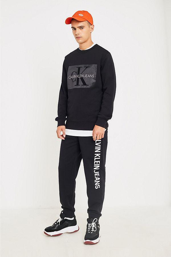 Calvin Side Institutional Logo Klein Joggers Black Jeans Urban qfgnpf