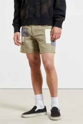 BDG Taupe Patchwork Utility Shorts - Beige 33 at Urban Outfitters
