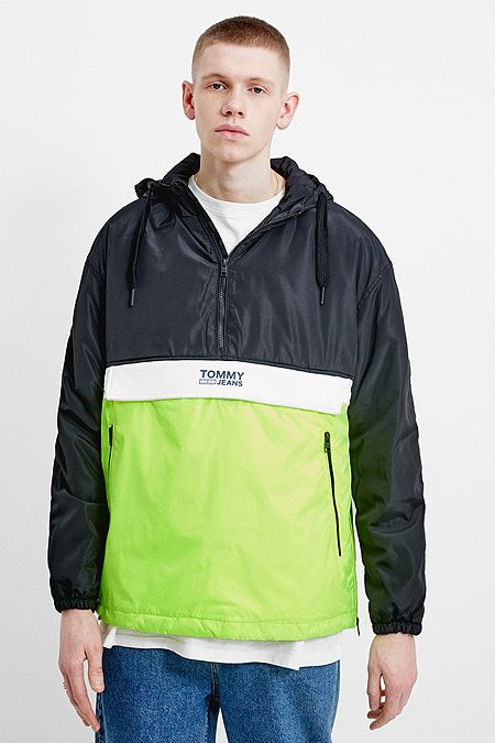 Tommy Jeans Black Colour Block Popover Windbreaker Jacket 586fd90029