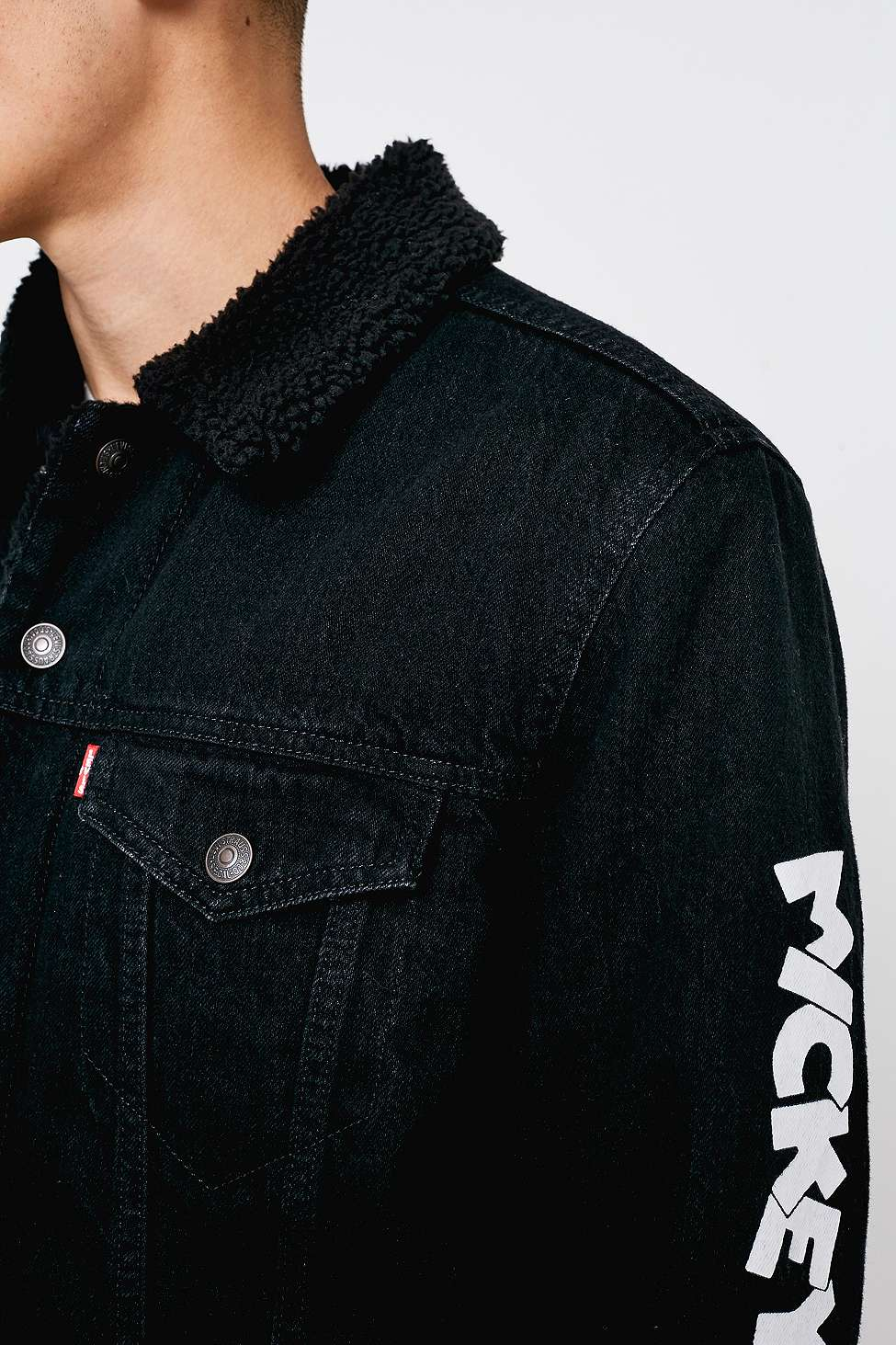 Levi S Mickey Mouse Black Denim Jacket Urban Outfitters Uk