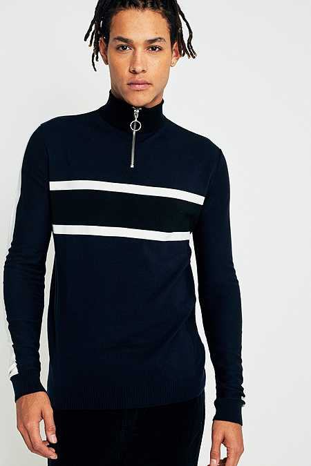 Loom Navy Taped Placement Half-Zip Mock Neck Jumper