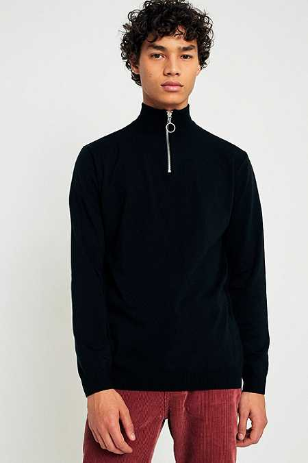 Loom Black Half-Zip Mock Neck Jumper