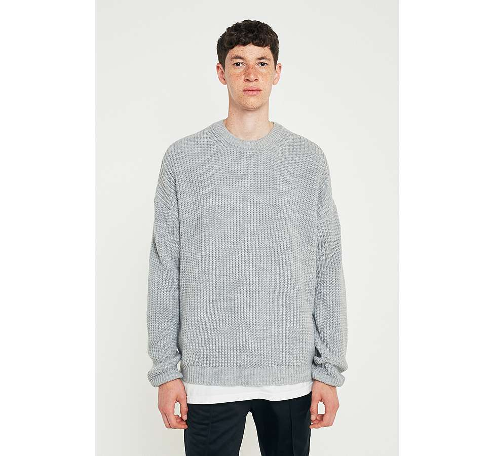 Slide View: 1: Loom Grey Drop Shoulder Fisherman Jumper