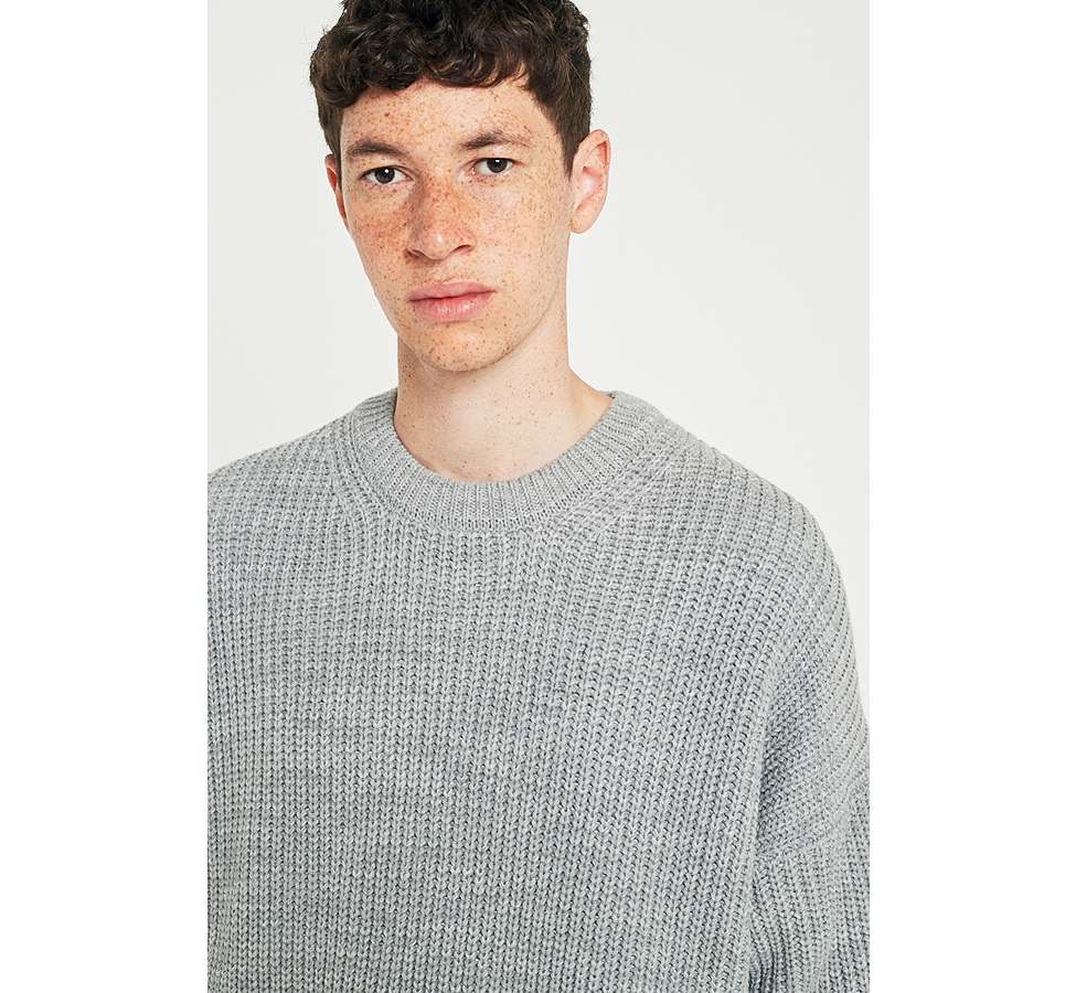 Slide View: 2: Loom Grey Drop Shoulder Fisherman Jumper