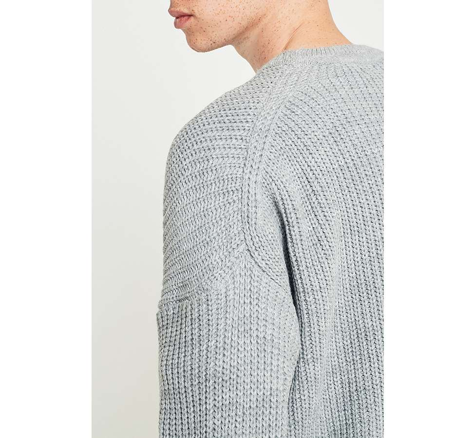 Slide View: 4: Loom Grey Drop Shoulder Fisherman Jumper