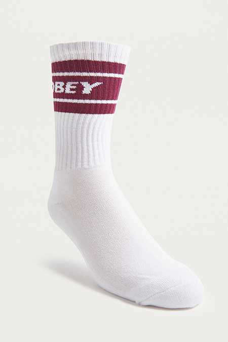 OBEY - Chaussettes Cooper framboise et blanches
