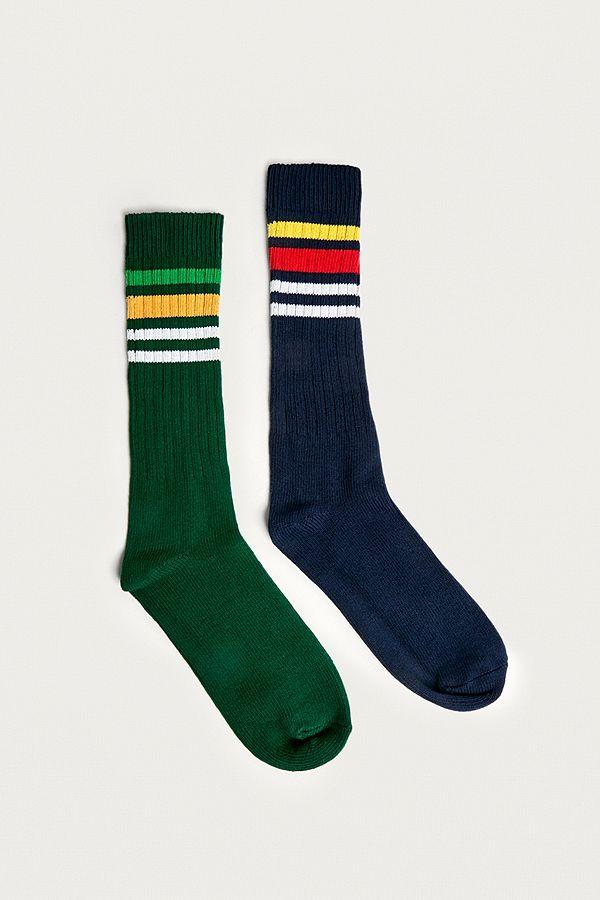 613ba016480c UO - Lot de 2 paires de chaussettes de ski bleu marine et vertes ...