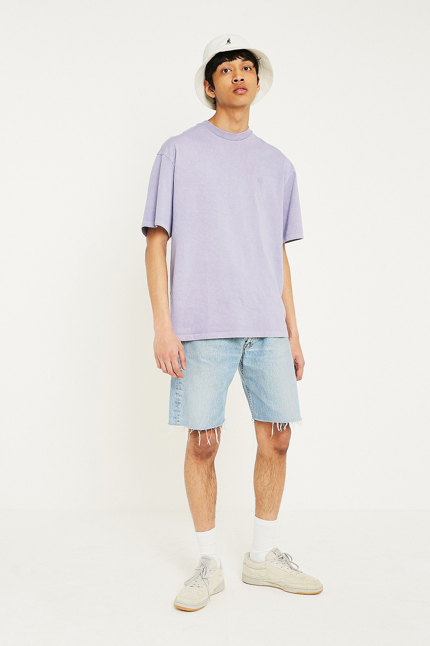 Uo Washed Lilac Oversized T Shirt Urban Outfitters Uk Grey Slide View 4
