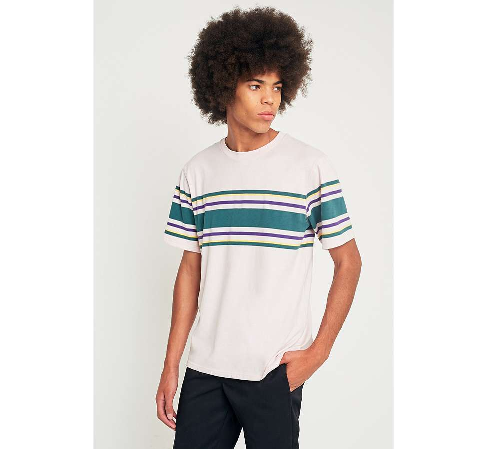 Slide View: 1: UO Pink Placement Stripe T-shirt