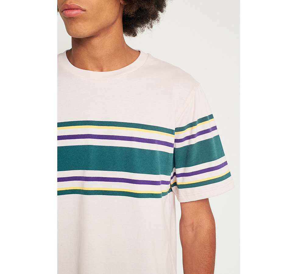 Slide View: 2: UO Pink Placement Stripe T-shirt