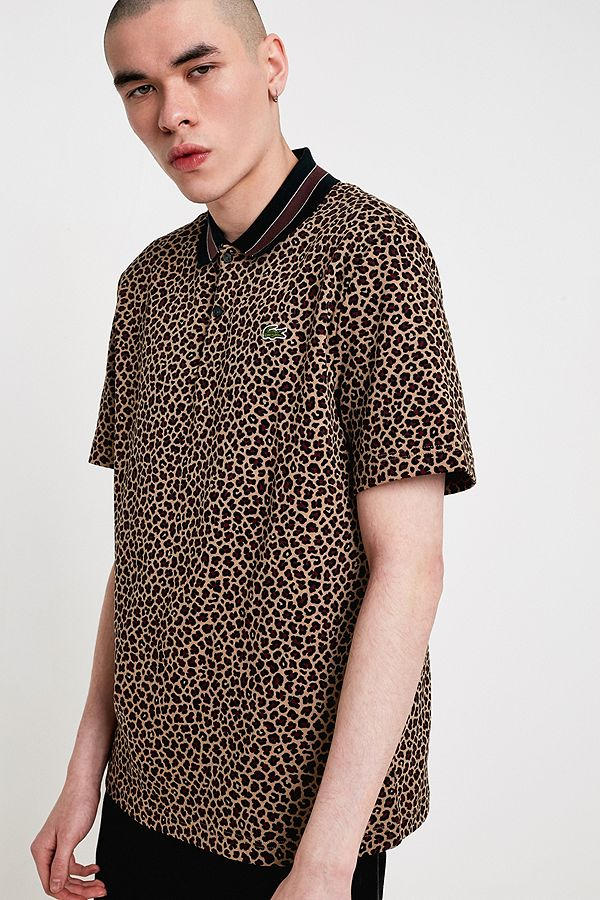 9c4e24469d980 Lacoste LIVE Leopard Print Polo Shirt   Urban Outfitters UK