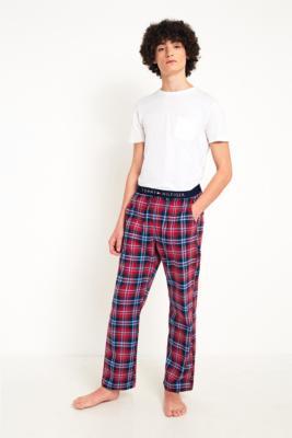 tommy-hilfiger-plaid-print-jersey-pyjama-pants-herren-m