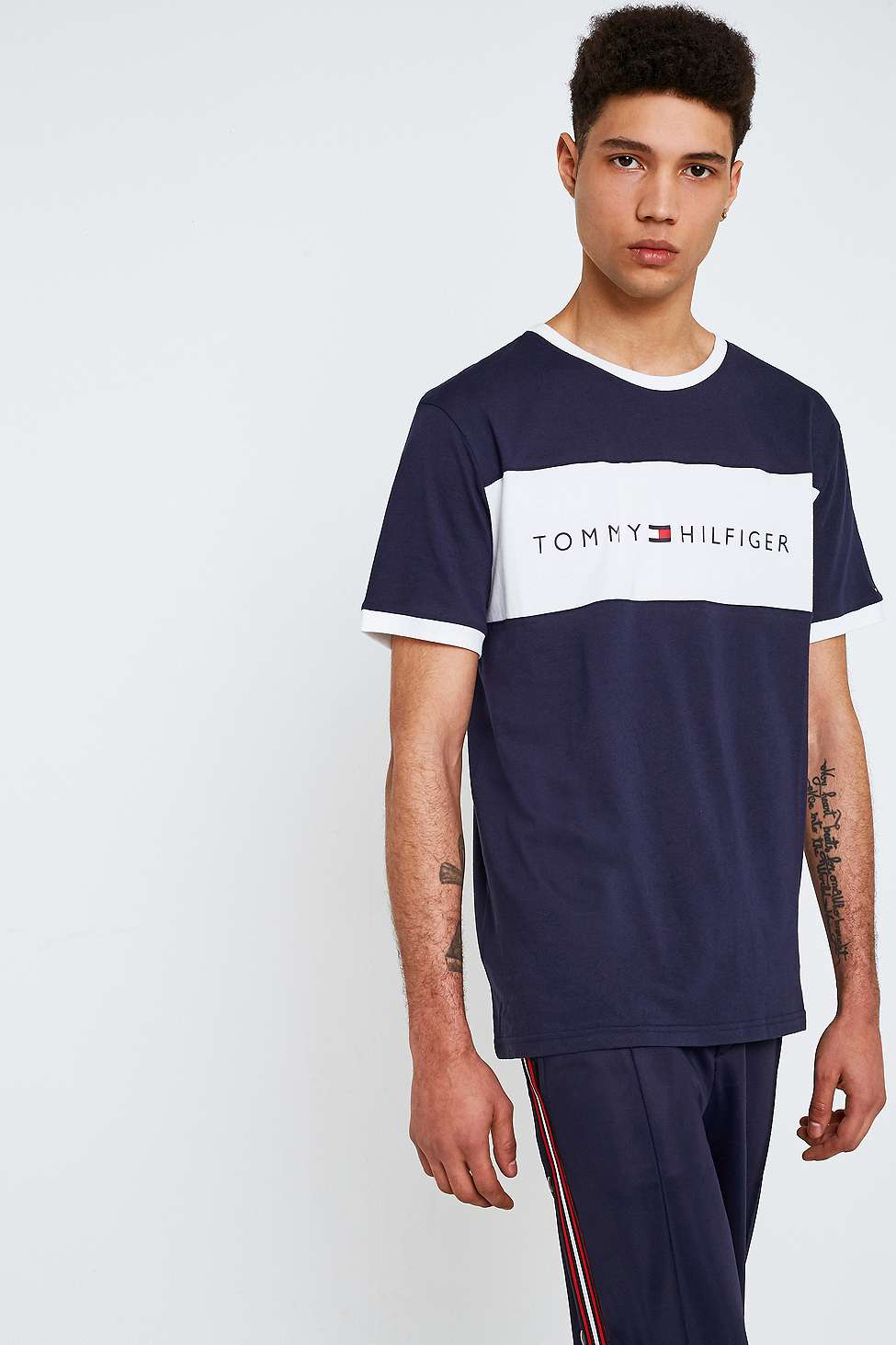 T-Shirt mit Logo-Schriftzug - Navy Tommy Jeans Extrem Online exAMGK42