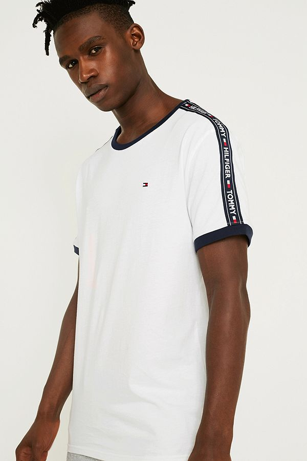 Slide View  1  Tommy Hilfiger Taped Sleeve White T-Shirt 29005ad8b93