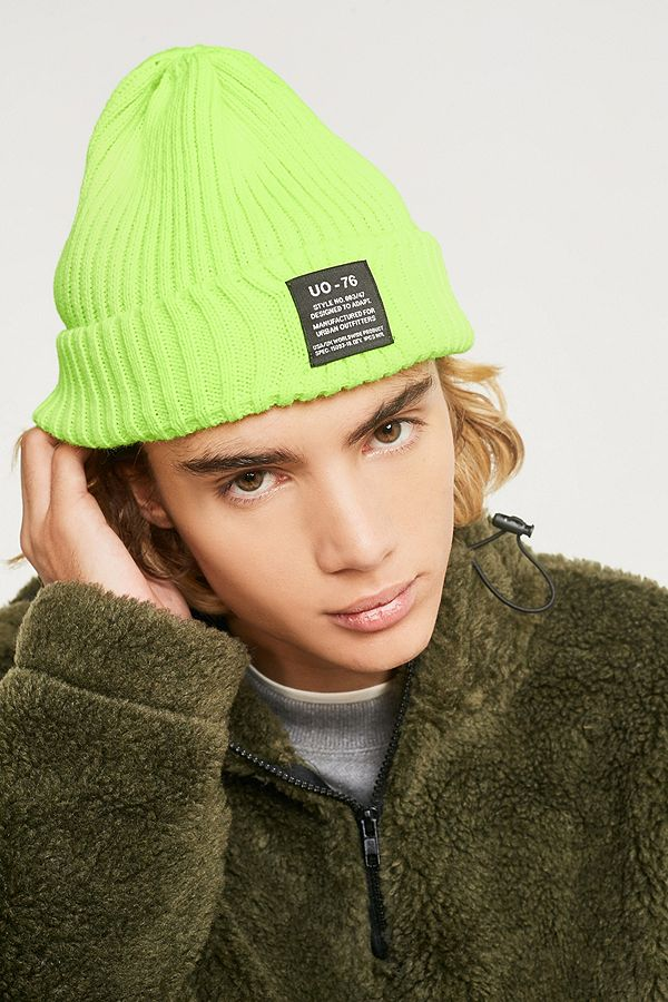 UO Fluorescent Yellow Ribbed Beanie  ebdf00dd87d