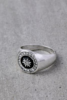 Crystal Sun Silver-Plated Signet Ring - Silver L at Urban Outfitters