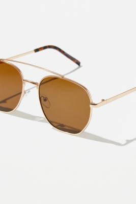 UO - Lunettes de soleil dorées Esteban - Urban Outfitters - Modalova