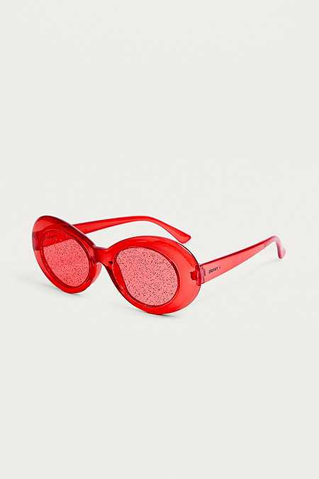 Planet i Extraterrestrial Red Glitter Lens Sunglasses