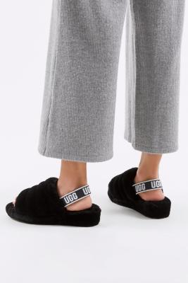 UGG Fluff Yeah Black Slide Slippers - Black UK 5 at Urban Outfitters
