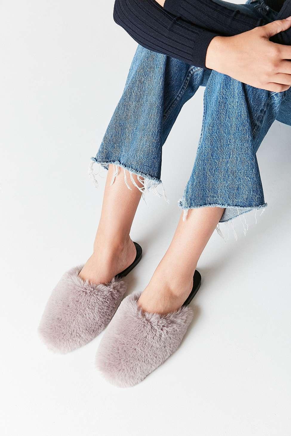 UO Faux Fur Grey Mule Slides, Grey