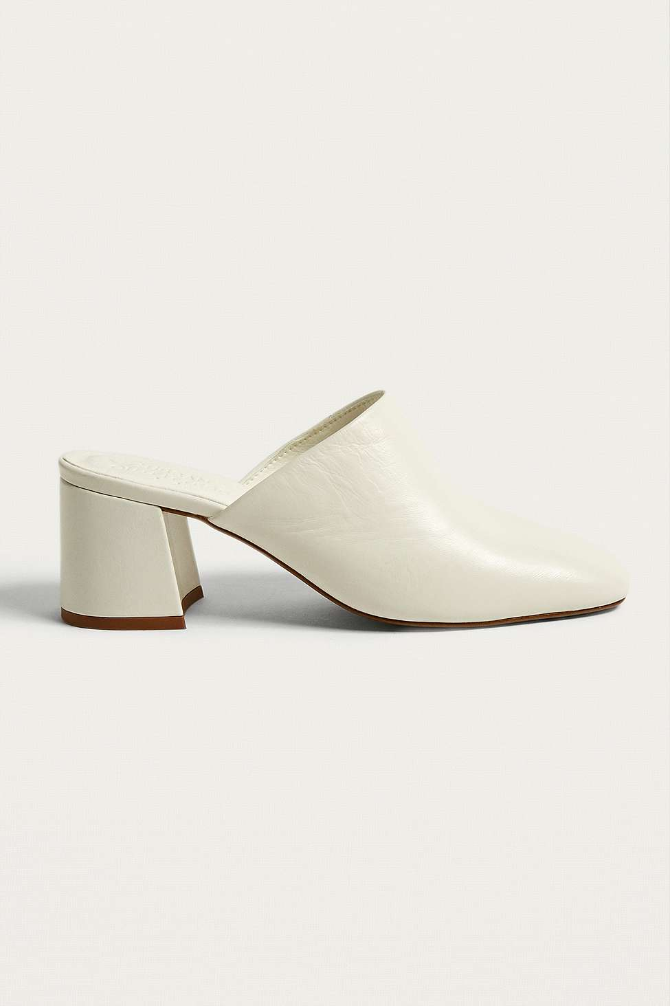 Coco Ecru Square Toe Heeled Mules, White