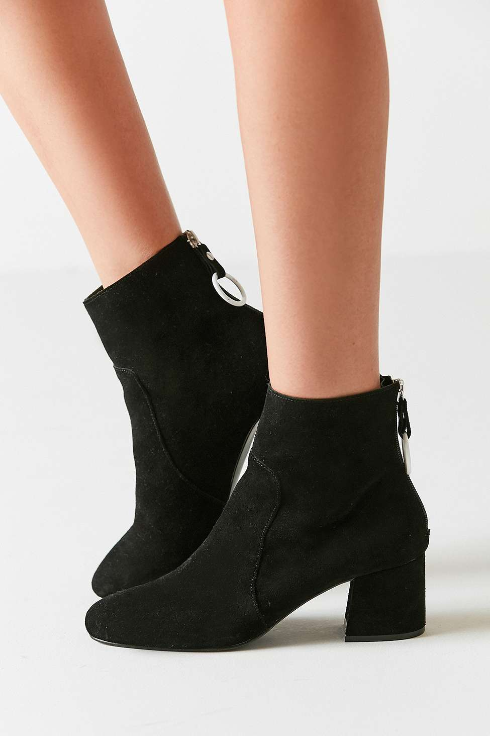 Harlow Suede O-Ring Black Ankle Boots, Black
