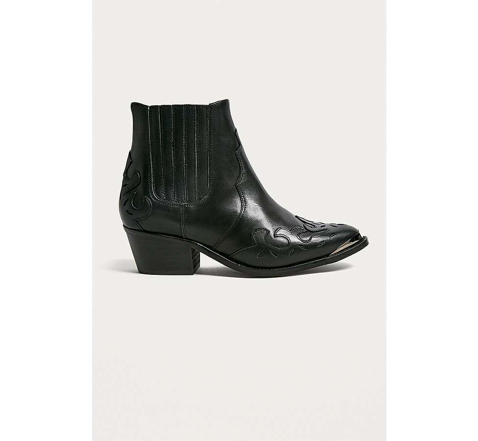 Slide View: 1: Bottines western Jessie en cuir