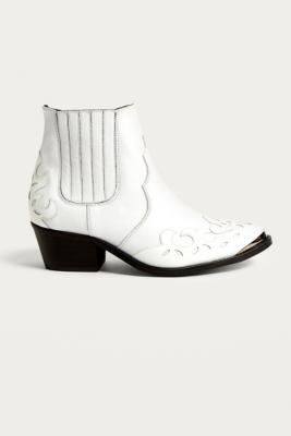 Urban Outfitters - Jessie Western Leather White Ankle Boots, White