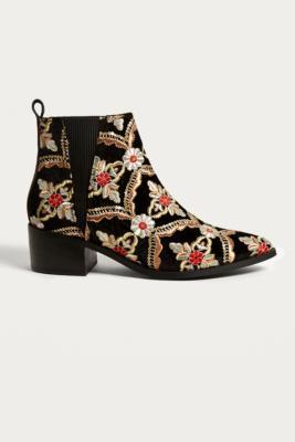 E8 by Miista - E8 by Miista Ula Embroidered Chelsea Boots, Black Multi