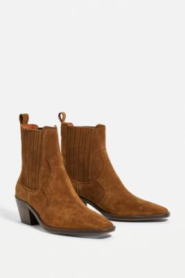UO Billie Brown Leather Western Boots - Brown UK 5 at Urban Outfitters