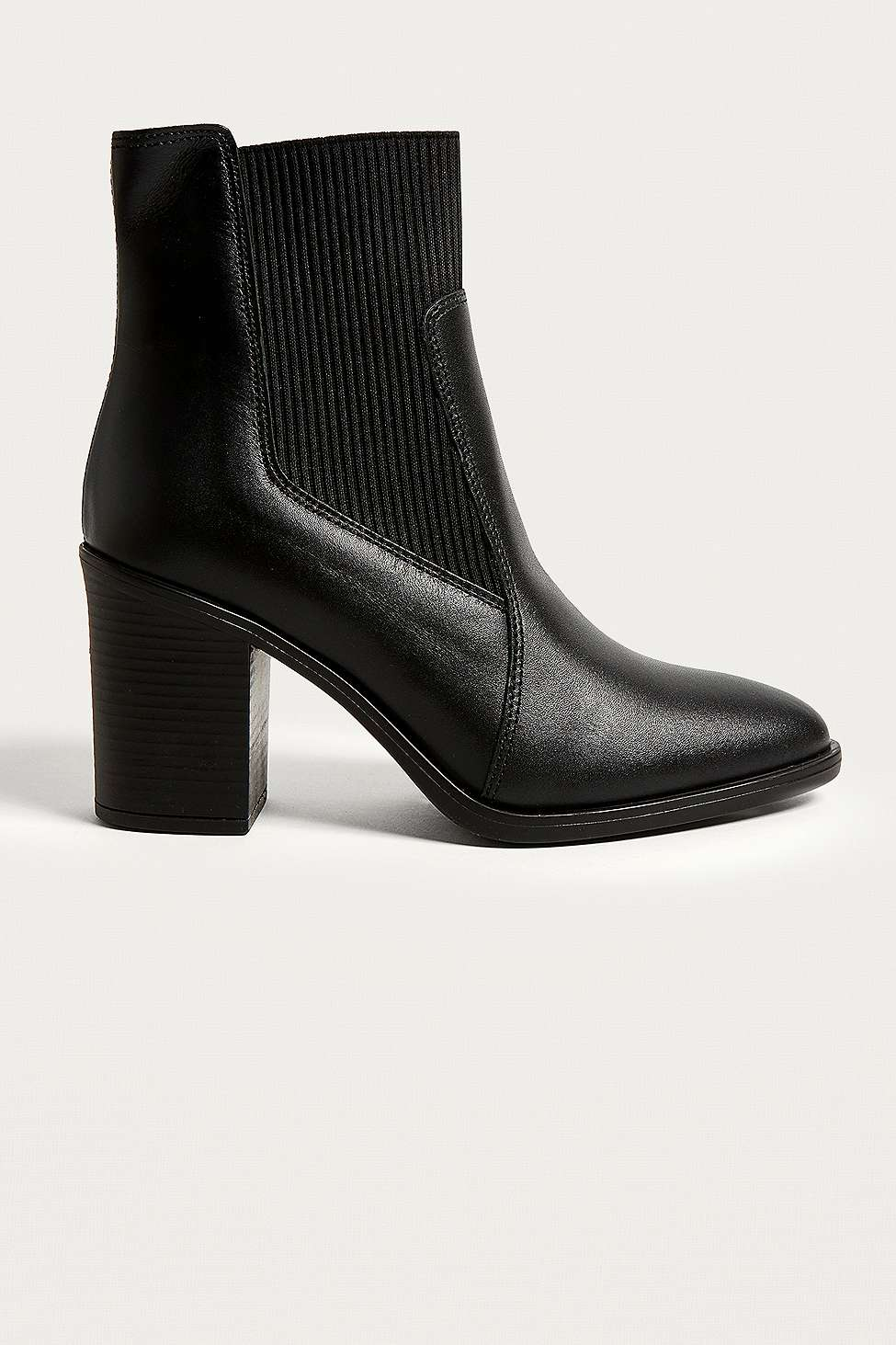 Rachael Ribbed Leather Chelsea Boots, Black