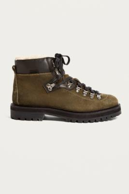d2687546 Shoptagr | Uo Baxter Leather + Shearling Hiker Boots by Urban Outfitters