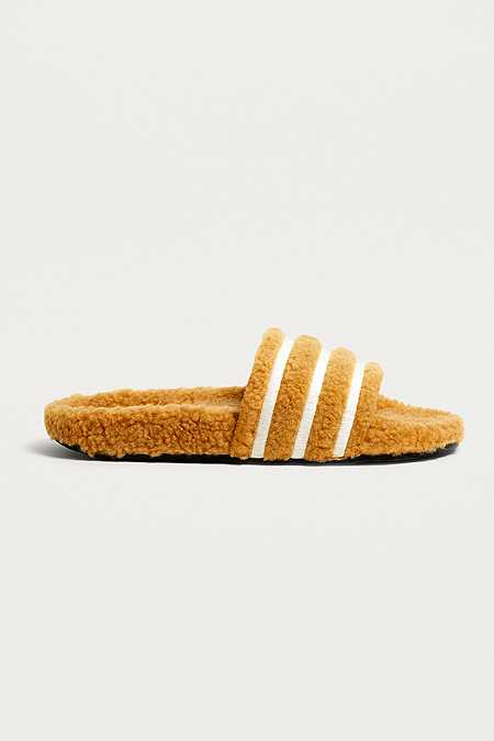 adidas Originals Adilette Brown Striped Teddy Slides
