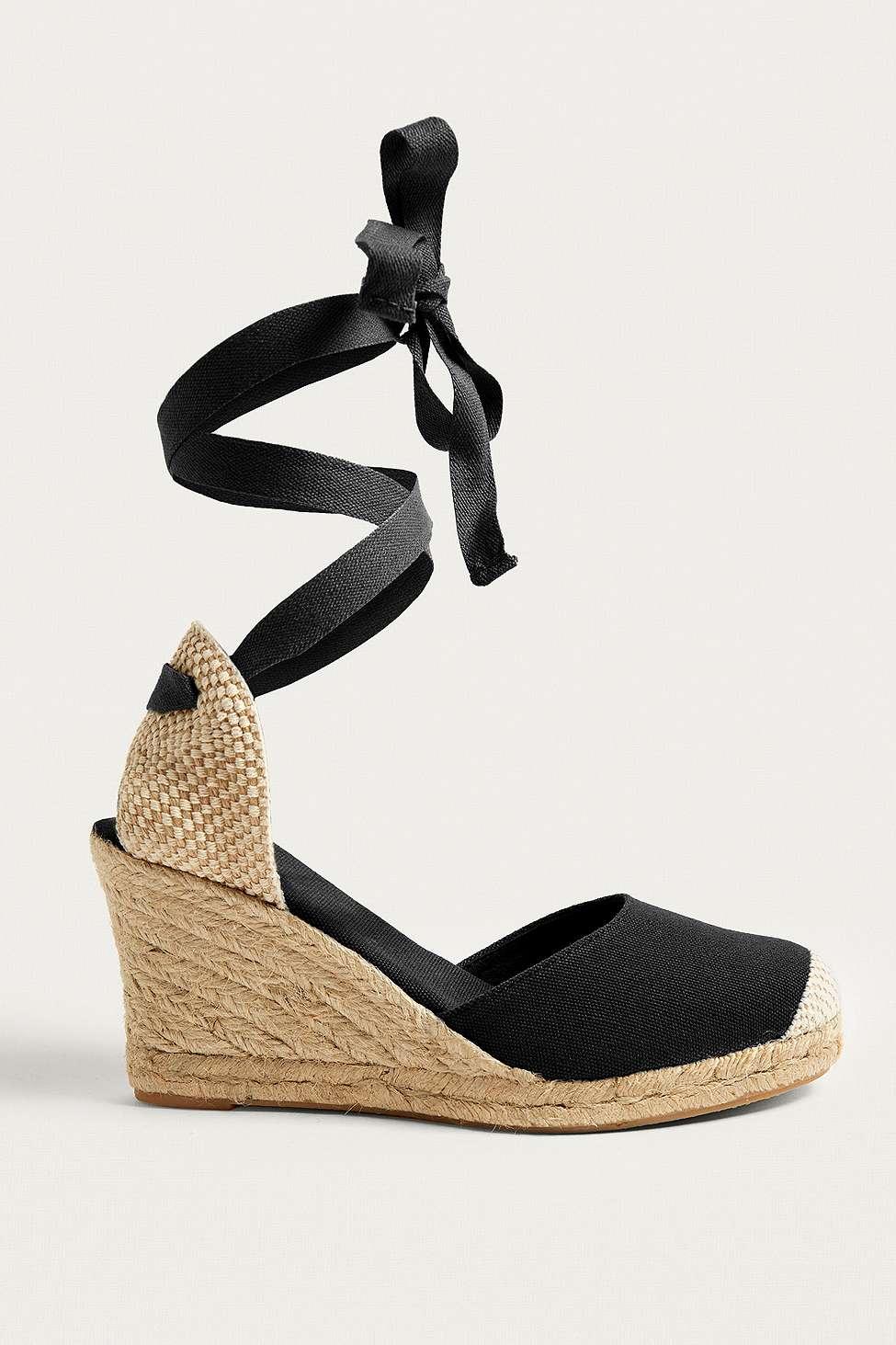 UO Erin Espadrille Wedge Sandals, Black