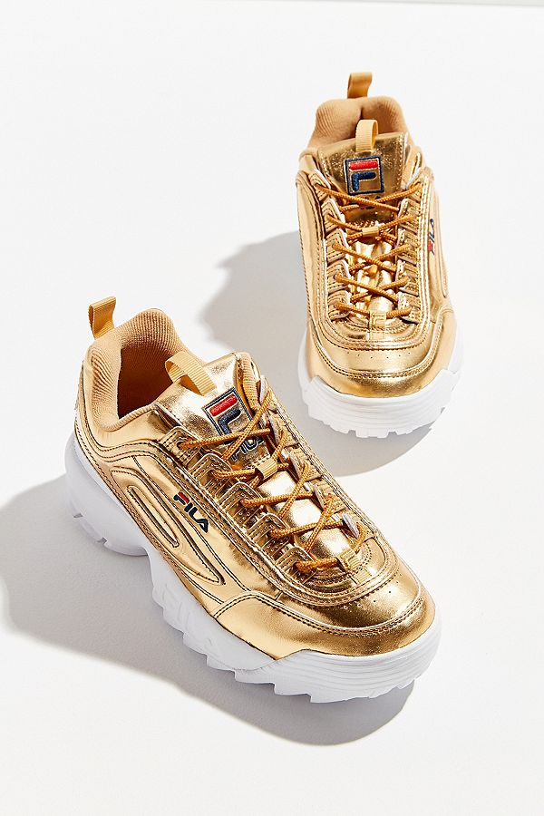Fila Disruptor Premium Metal Gold Trainers Urban Outfitters